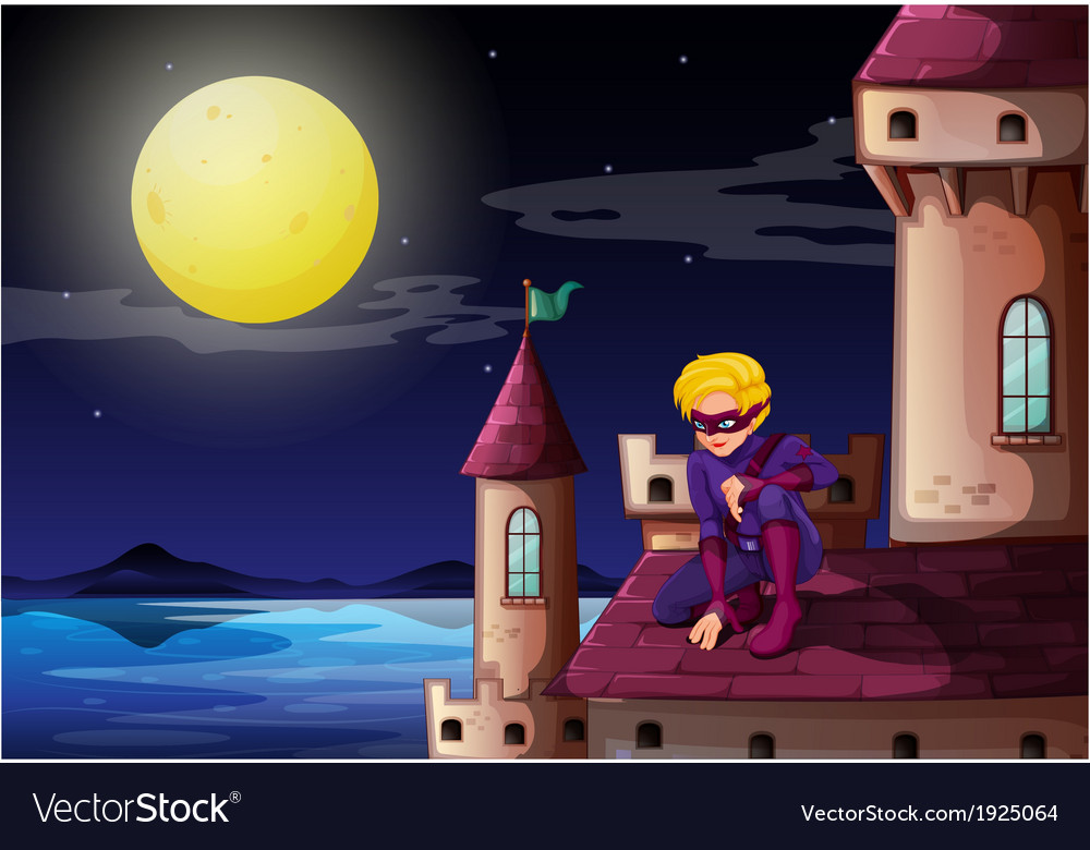 A male superhero at the castle vector | Price: 3 Credit (USD $3)