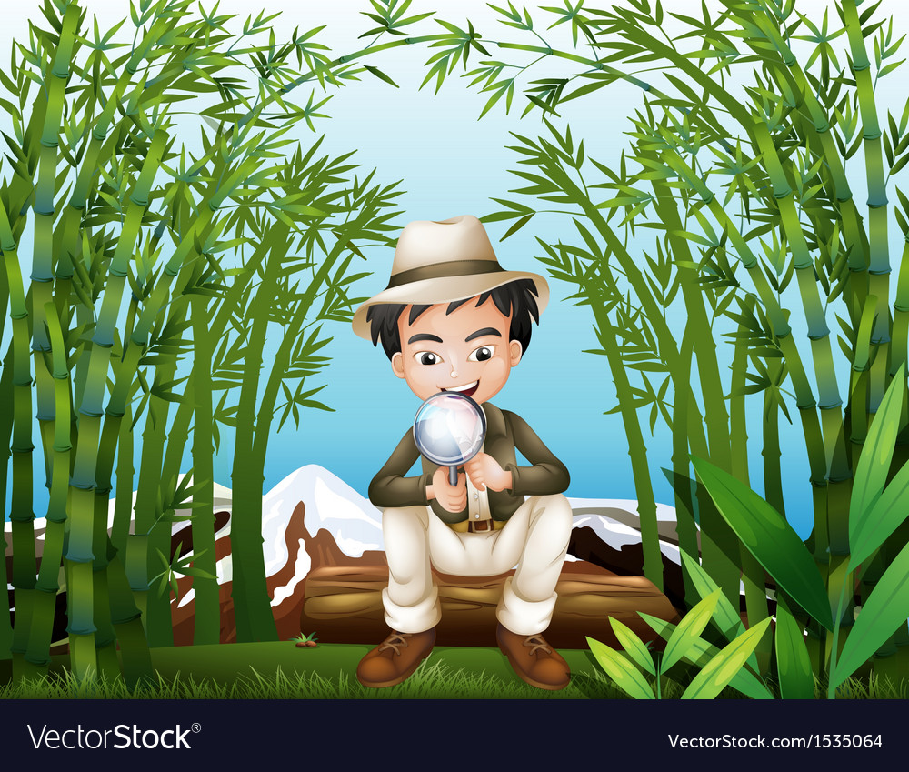 A rainforest with a man holding a magnifying lens vector | Price: 1 Credit (USD $1)