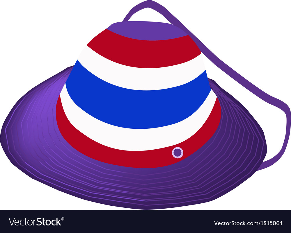A straw hat of thai flag on white background vector | Price: 1 Credit (USD $1)