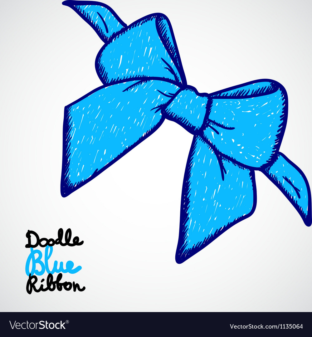Blue bow doodle vector | Price: 1 Credit (USD $1)