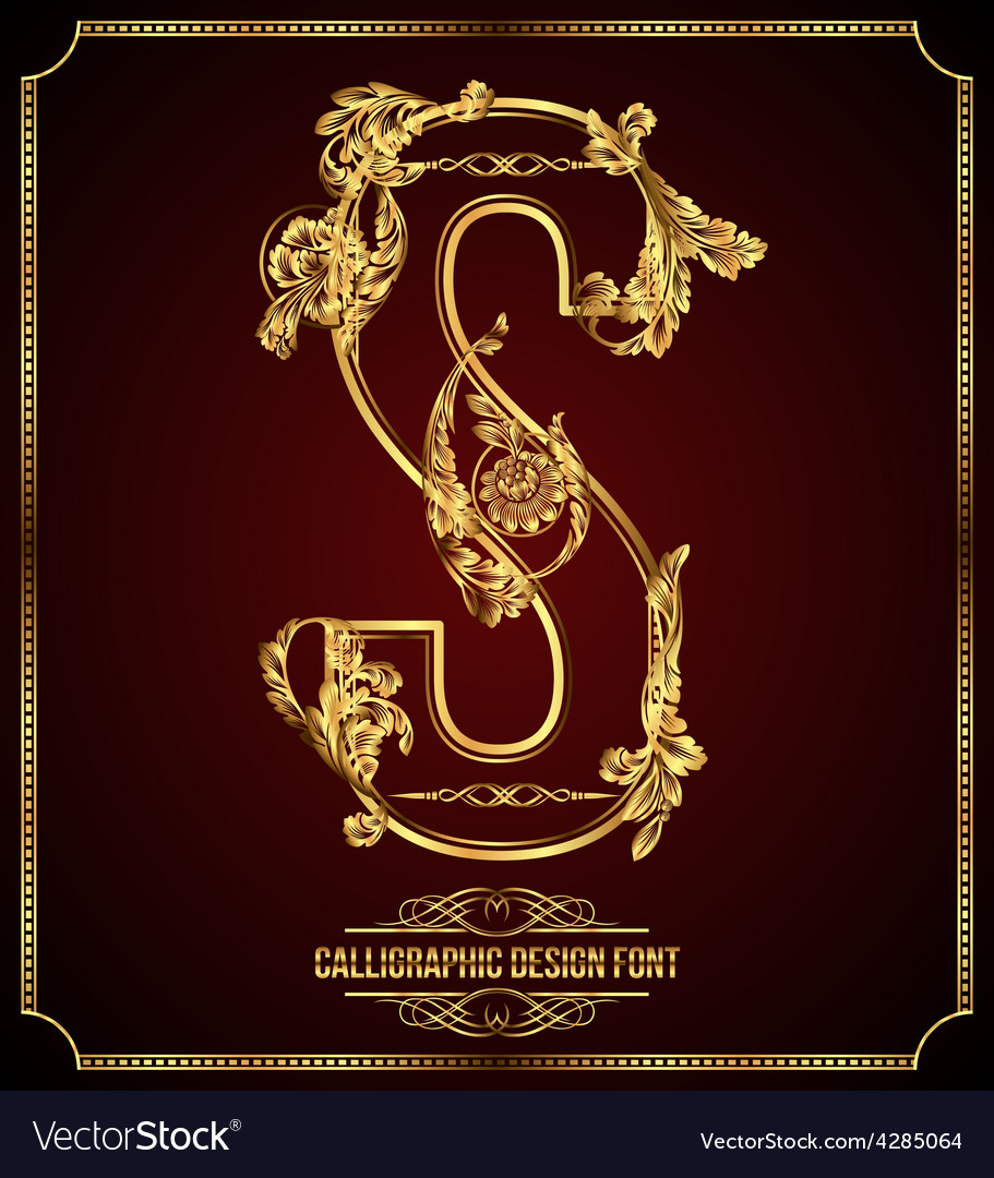 Calligraphic font letter s vector | Price: 3 Credit (USD $3)