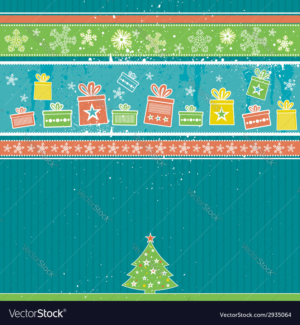 Color christmas card with pine vector | Price: 1 Credit (USD $1)