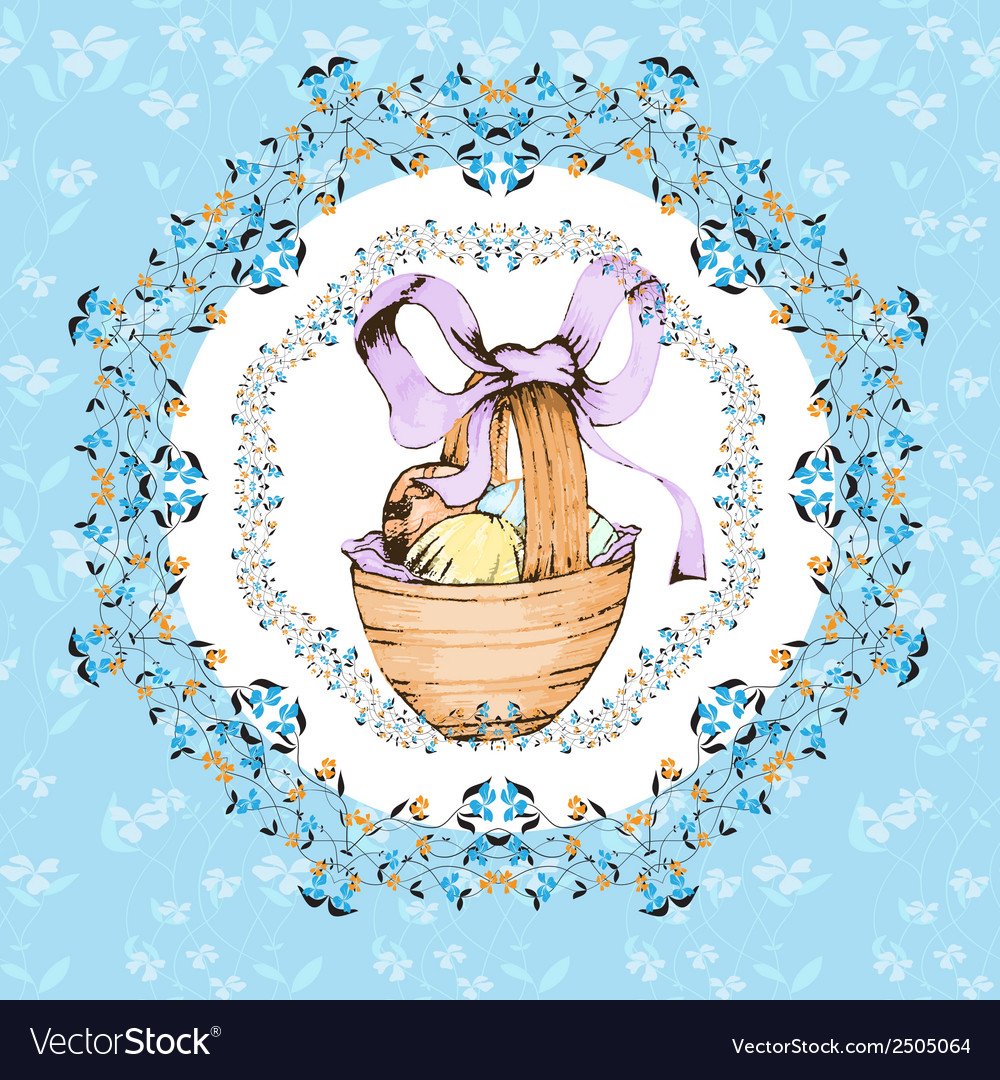 Easter retro hand drawn design card vector | Price: 1 Credit (USD $1)