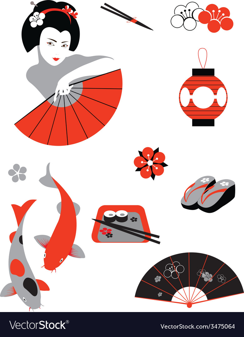Japanese set vector | Price: 1 Credit (USD $1)
