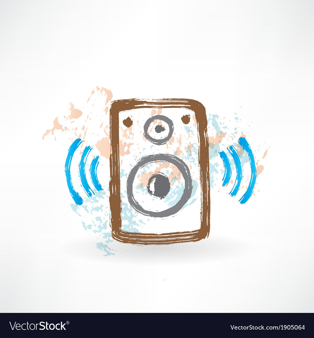 Music speakers grunge icon vector | Price: 1 Credit (USD $1)