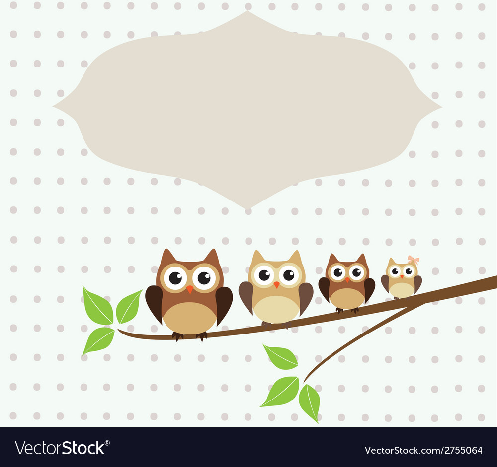 Owl family card vector | Price: 1 Credit (USD $1)