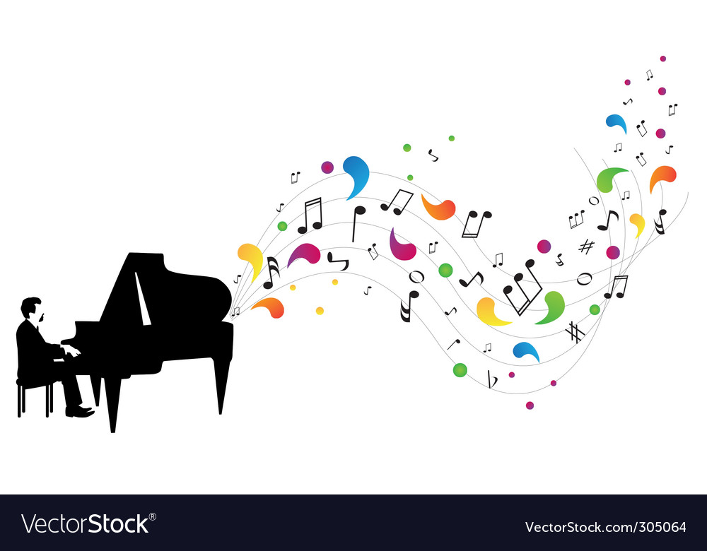 Pianist plays piano vector   Price: 1 Credit (USD $1)