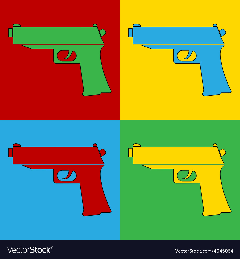 Pop art gun icons vector | Price: 1 Credit (USD $1)