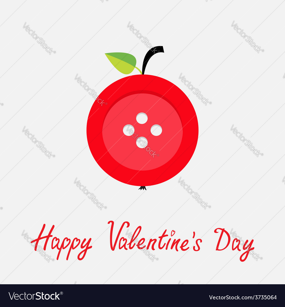 Red button apple with word love flat design style vector | Price: 1 Credit (USD $1)
