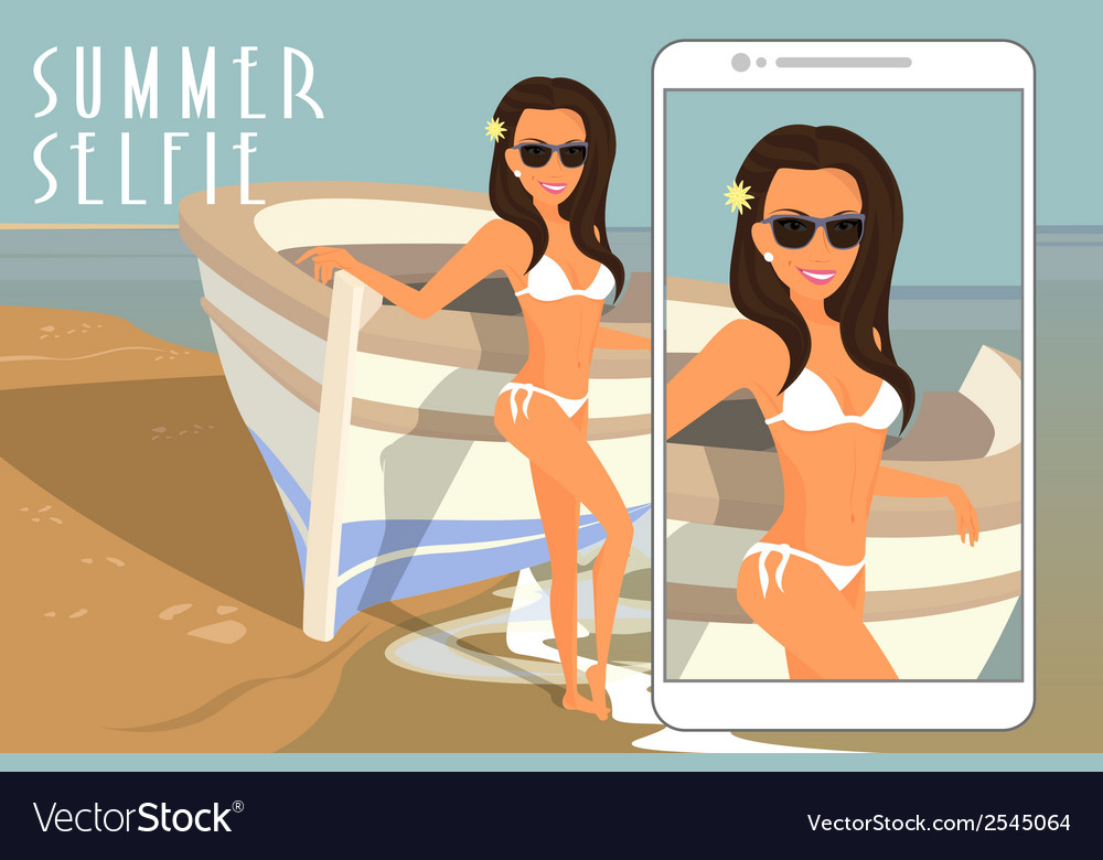 Selfie of brunette woman wearing white swimsuit vector | Price: 1 Credit (USD $1)
