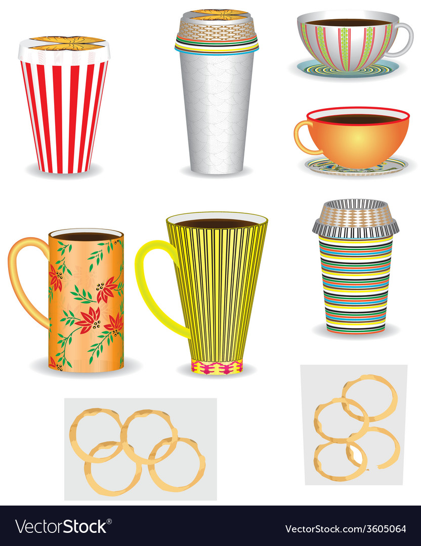 Set of coffee cups vector | Price: 1 Credit (USD $1)