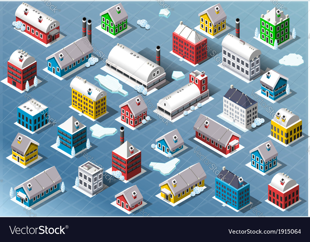 Set of isometric building in winter vector | Price: 1 Credit (USD $1)