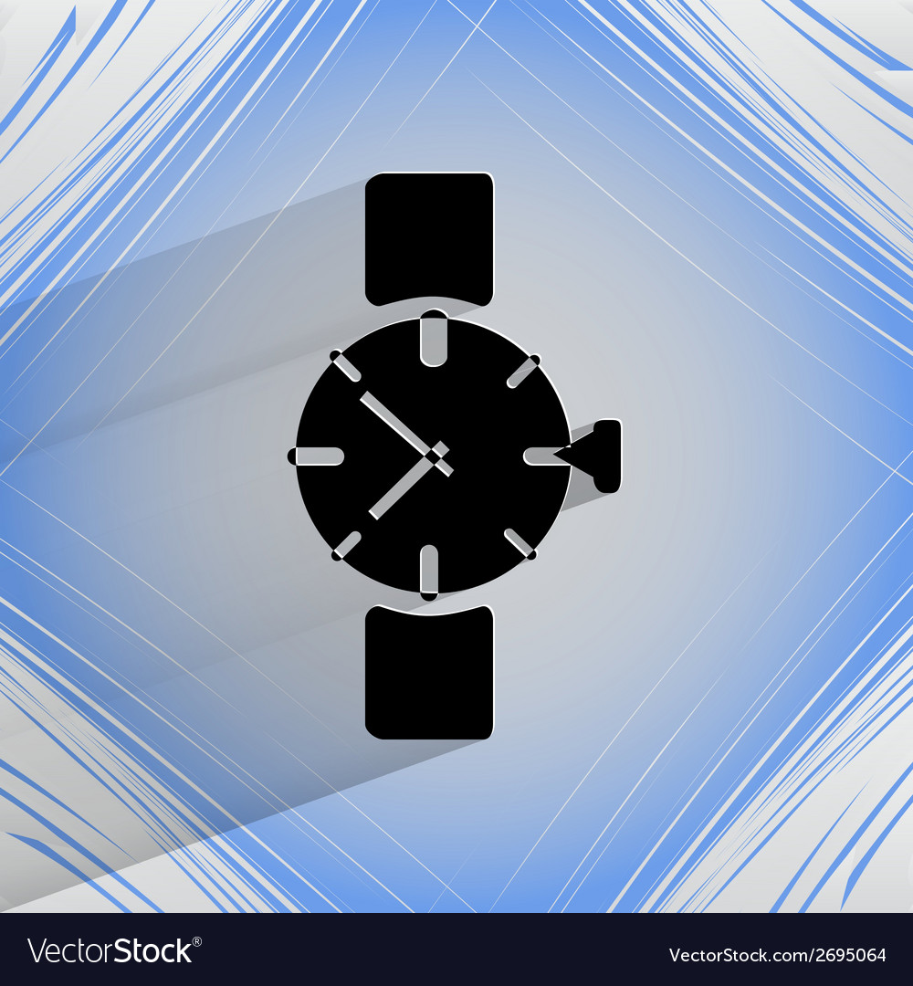 Watchclock flat modern web button on a flat vector | Price: 1 Credit (USD $1)