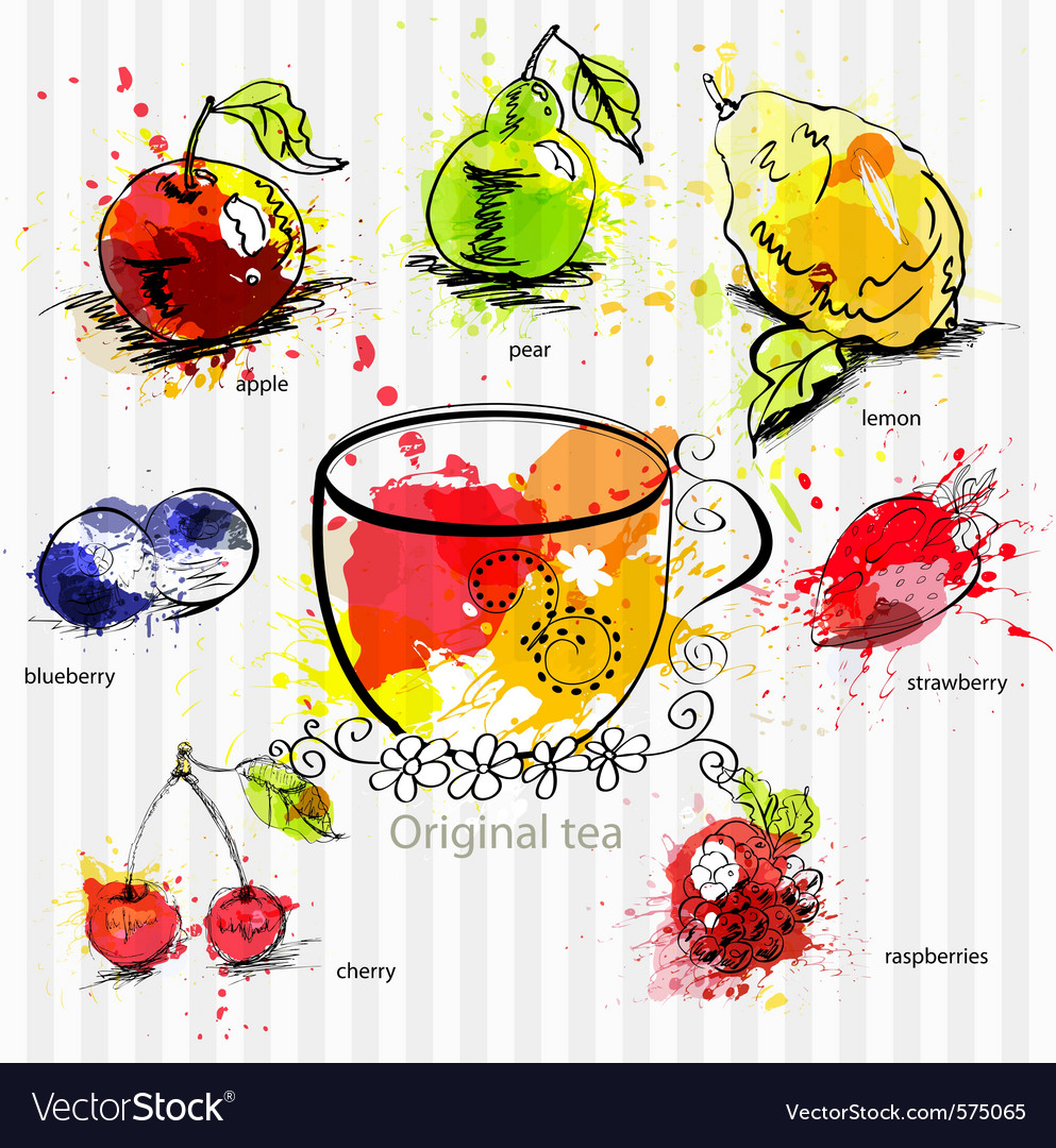 A cup of tea with fruit tea vector | Price: 1 Credit (USD $1)