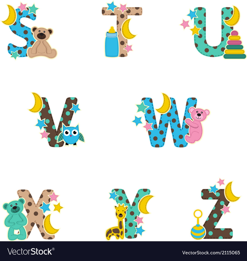 Alphabet baby from s to z vector | Price: 1 Credit (USD $1)