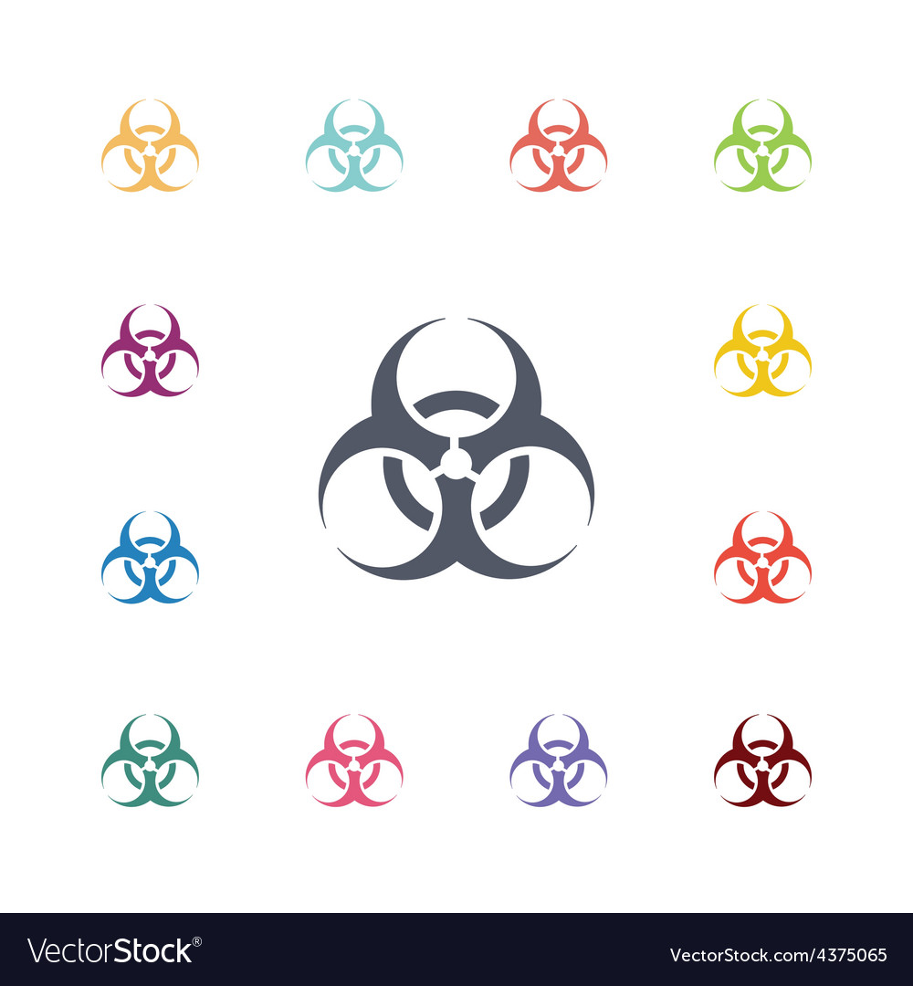 Bio hazard flat icons set vector | Price: 1 Credit (USD $1)
