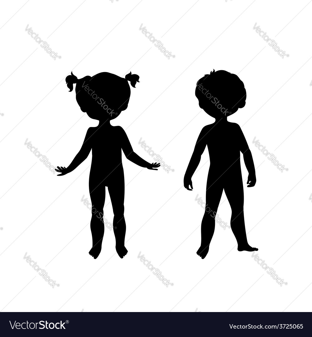 Black silhouettes of cute kids vector | Price: 1 Credit (USD $1)