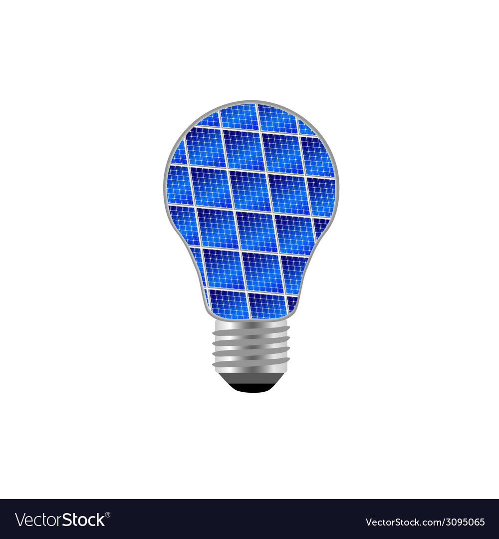 Bulb with blue solar panel vector | Price: 1 Credit (USD $1)