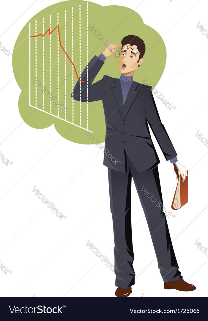 Businessman is shocked about the graph vector | Price: 1 Credit (USD $1)