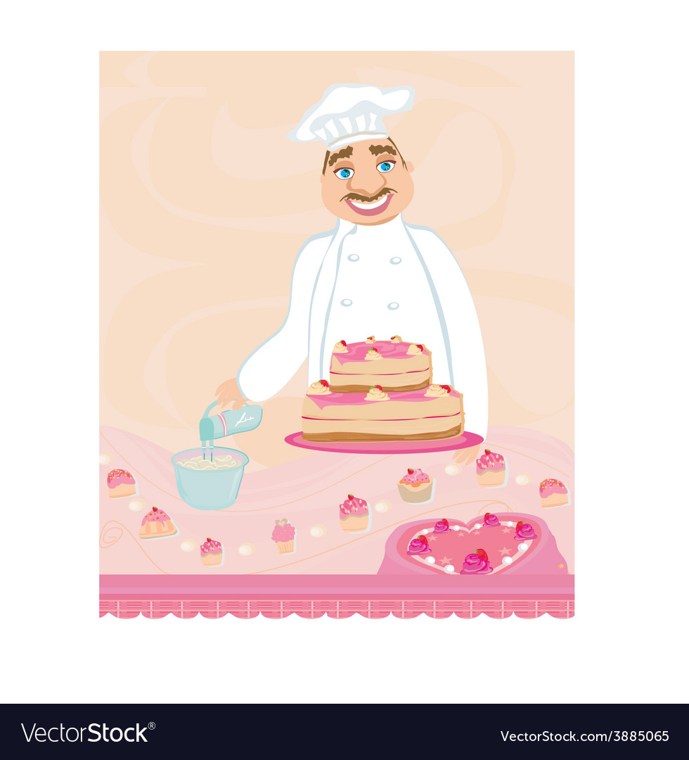 Chef preparing a cake vector | Price: 1 Credit (USD $1)
