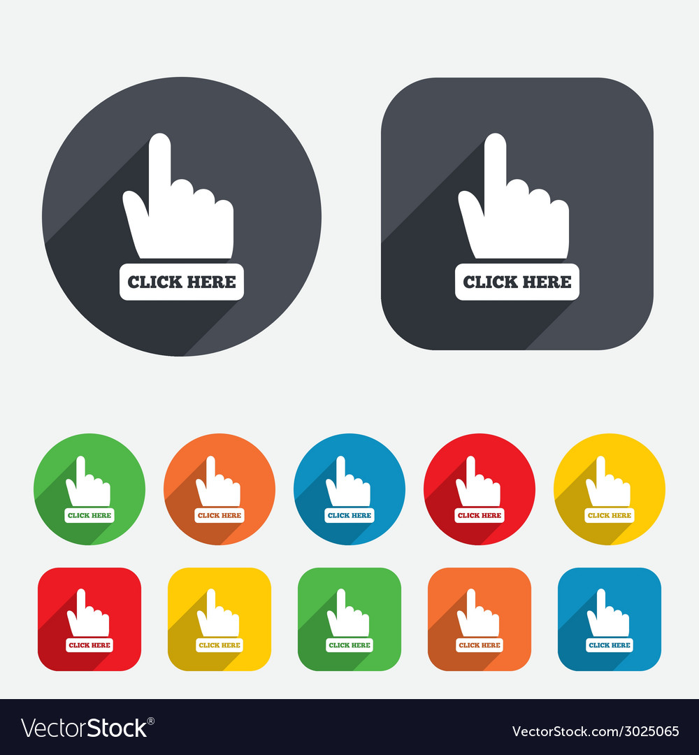 Click here hand sign icon press button vector | Price: 1 Credit (USD $1)