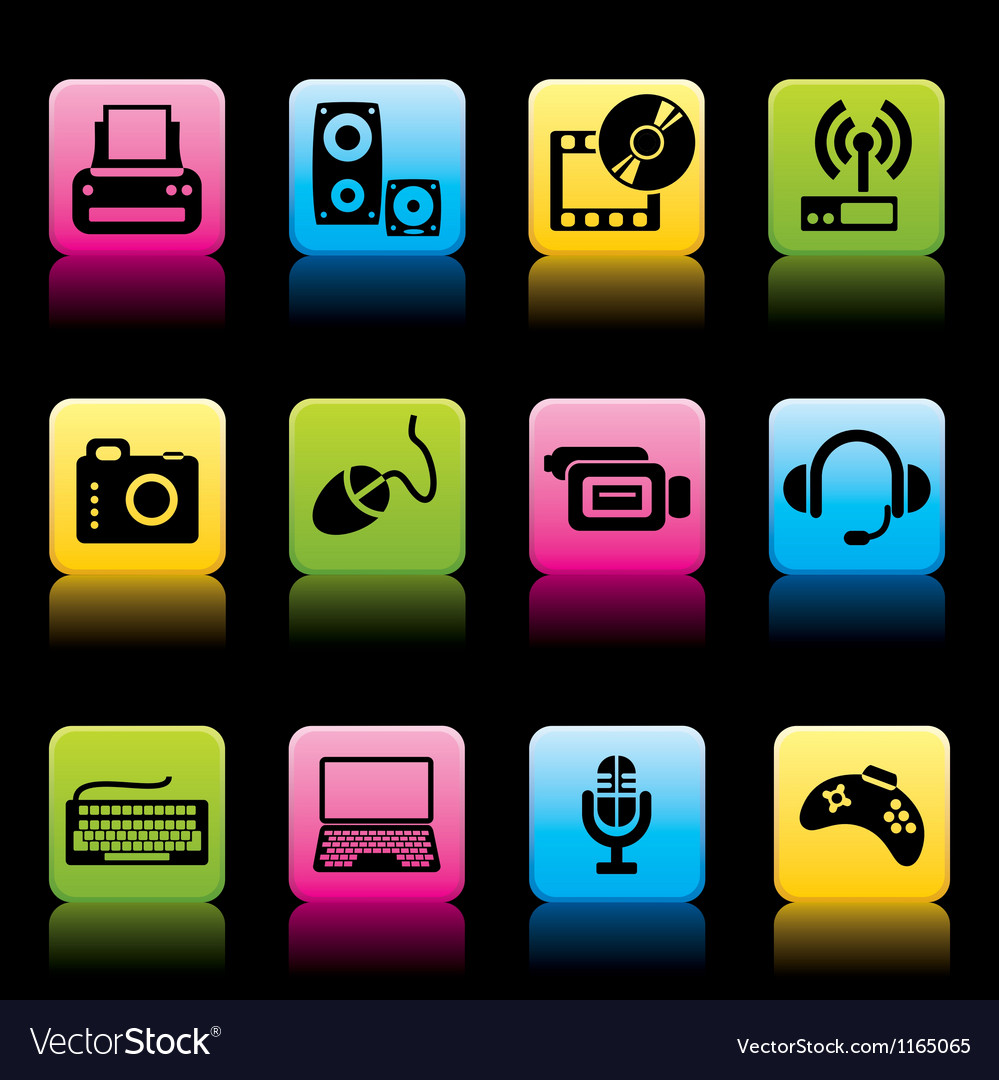 Devices icons color vector | Price: 1 Credit (USD $1)