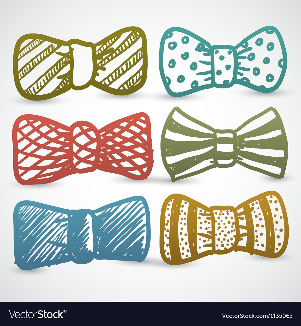 Doodle style bow tie mens clothing assortment vector | Price: 1 Credit (USD $1)
