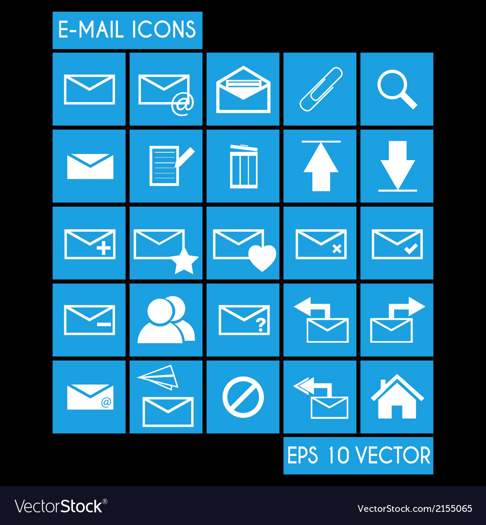 E-mail icon set vector | Price: 1 Credit (USD $1)