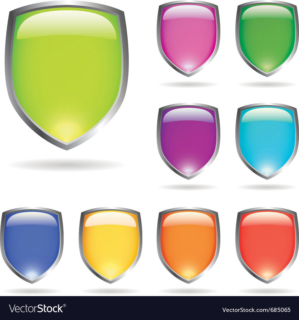 Glossy shields vector | Price: 1 Credit (USD $1)