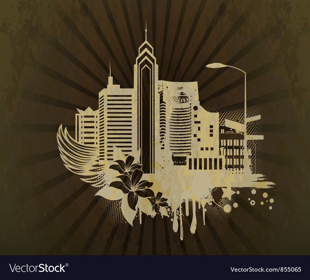 Grunge background with city vector | Price: 1 Credit (USD $1)