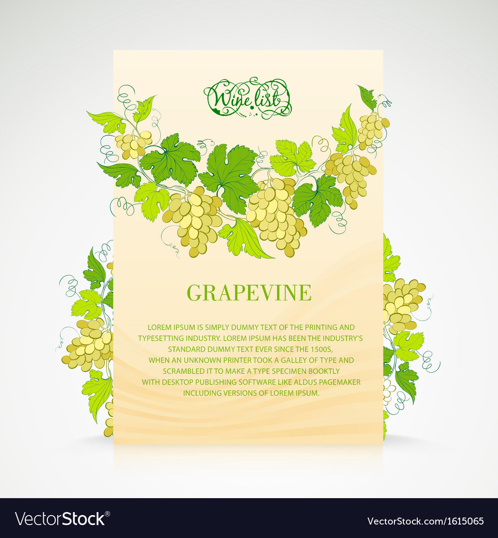 Wine list design with grapes decoration vector | Price: 1 Credit (USD $1)
