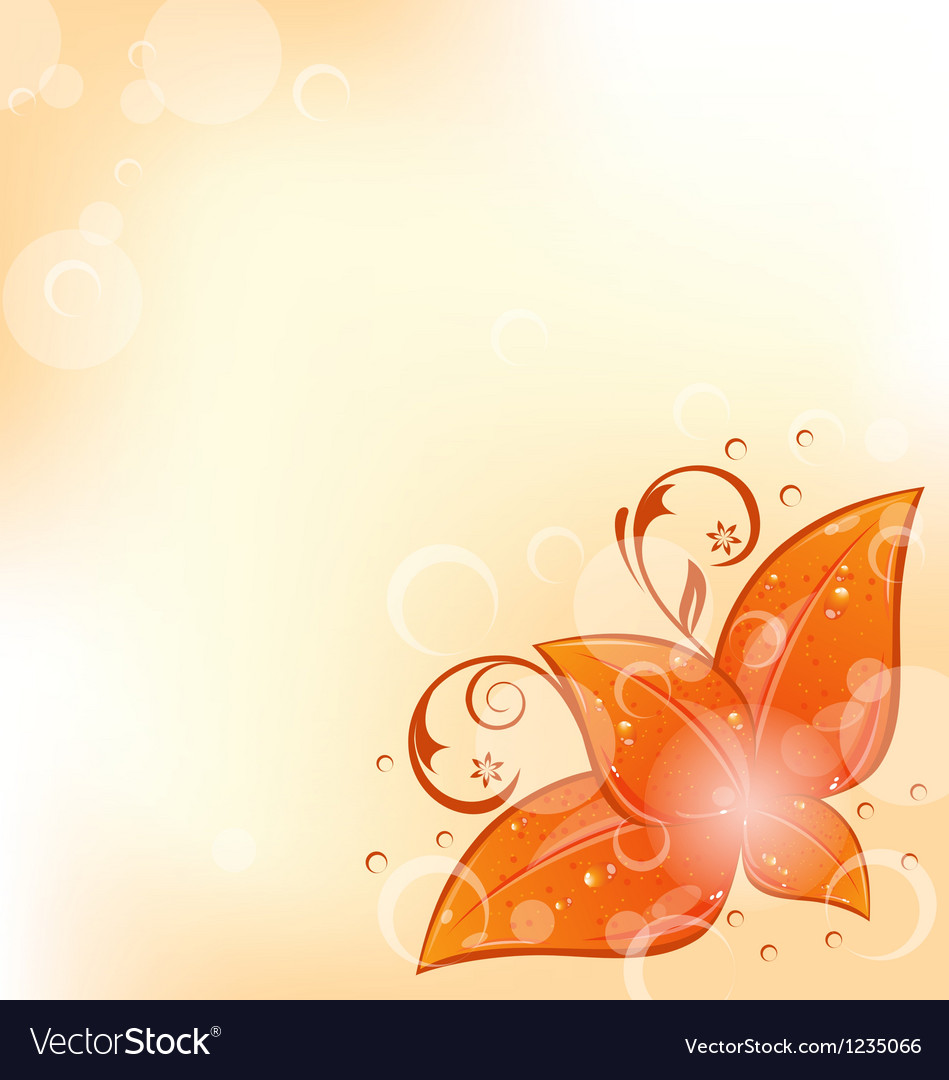 Autumnal background with set orange leaves vector | Price: 1 Credit (USD $1)