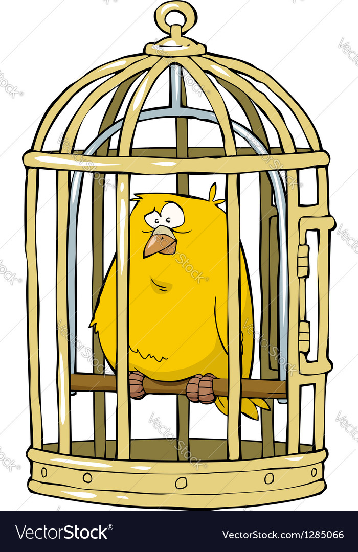 Birdcage with a canary vector   Price: 1 Credit (USD $1)