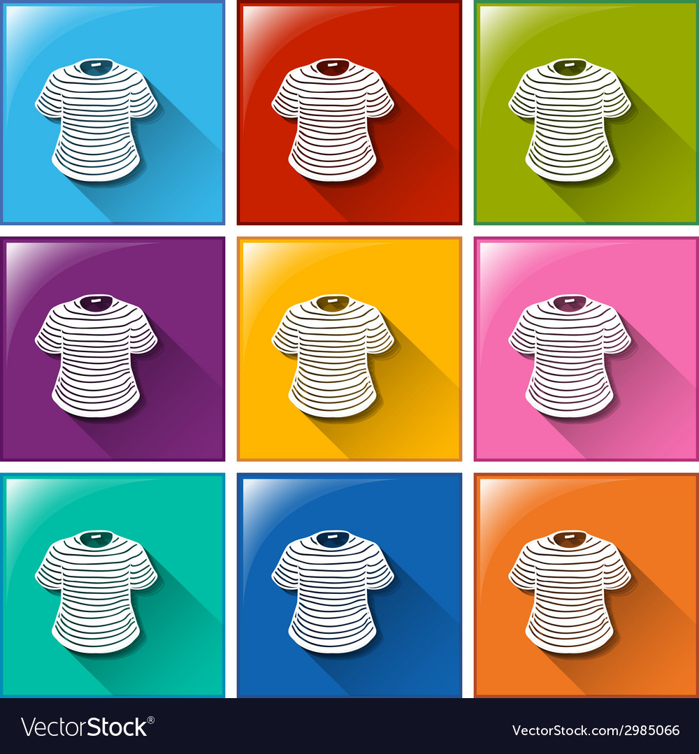 Buttons with stripe-coloured shirts vector | Price: 1 Credit (USD $1)