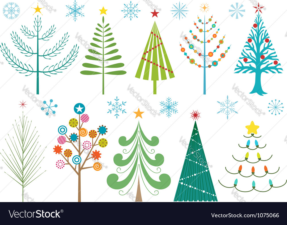 Christmas trees and snowflakes vector | Price: 1 Credit (USD $1)