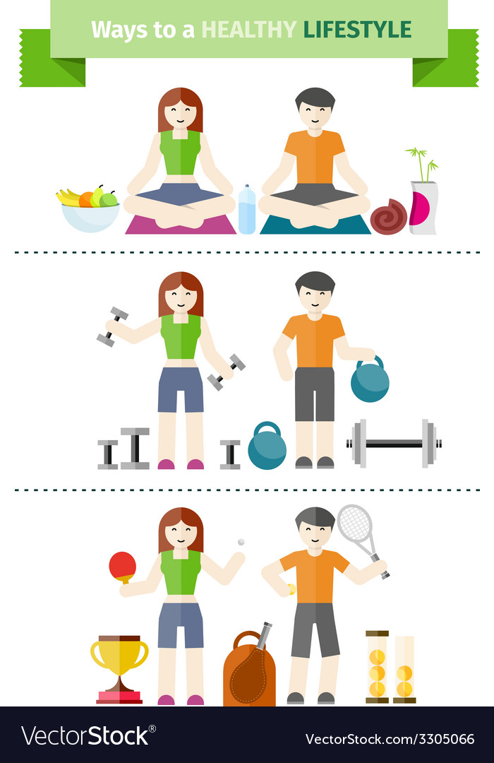 Concept of healthy lifestyle and wellbeing vector | Price: 1 Credit (USD $1)