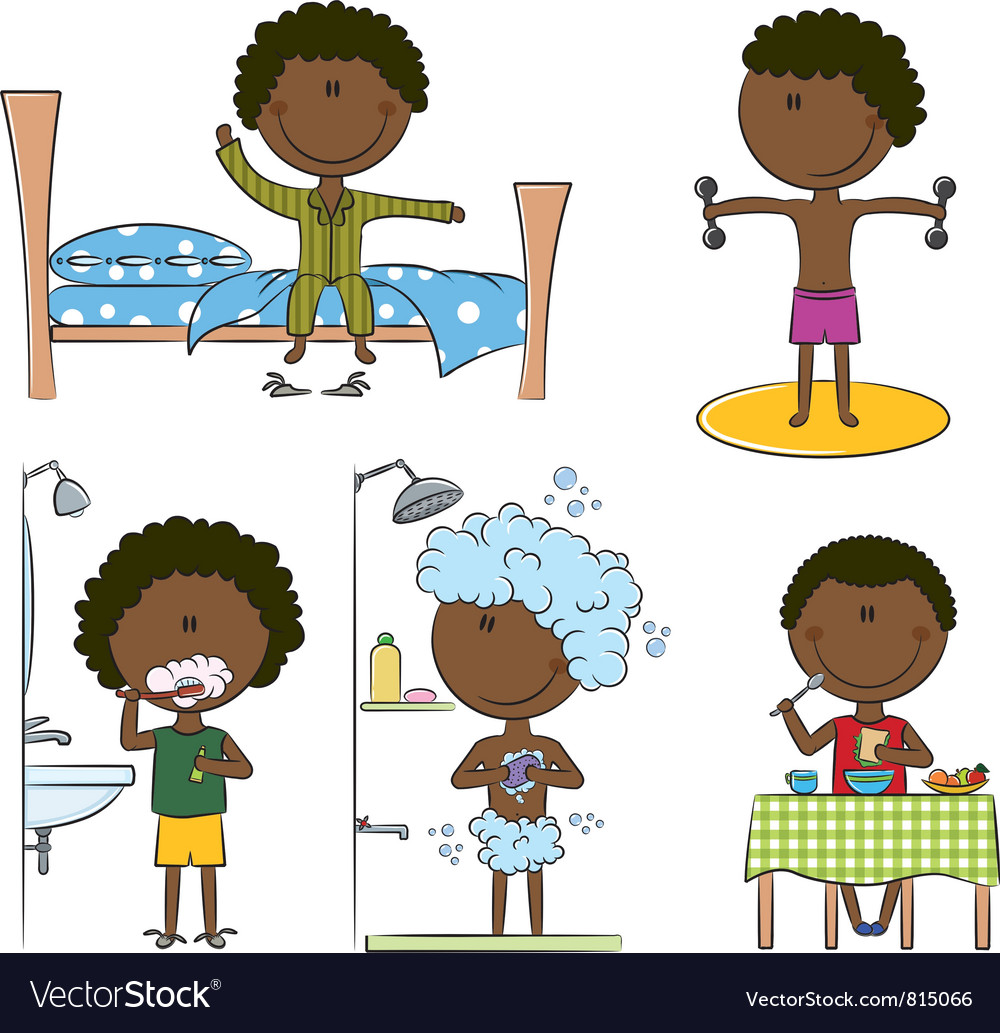 Daily morning african-american boys life vector | Price: 3 Credit (USD $3)