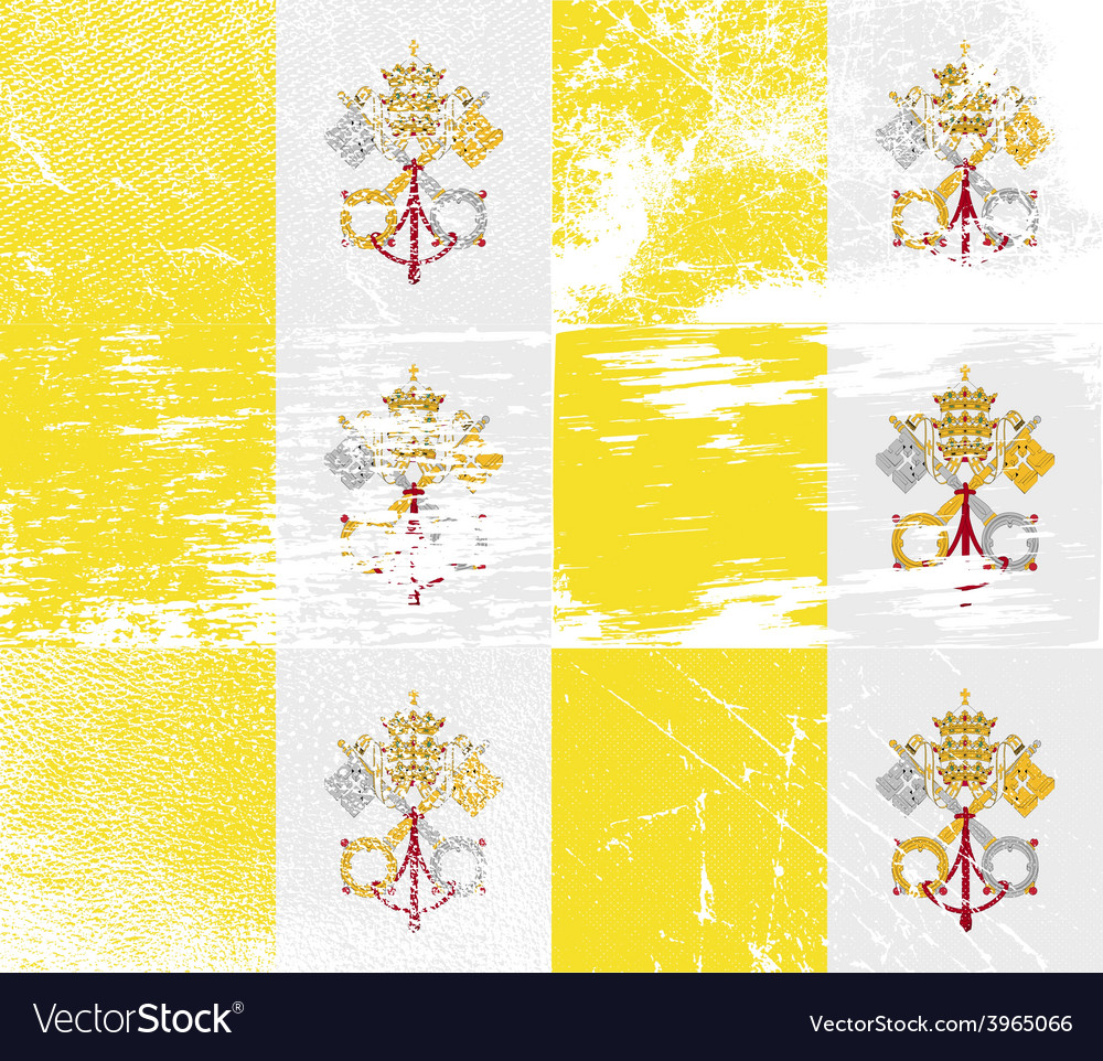 Flag of vatican cityholy see with old texture vector   Price: 1 Credit (USD $1)