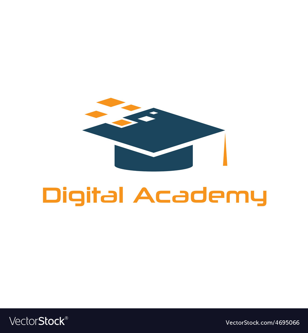 Graduation cap of digital academy design template vector | Price: 1 Credit (USD $1)