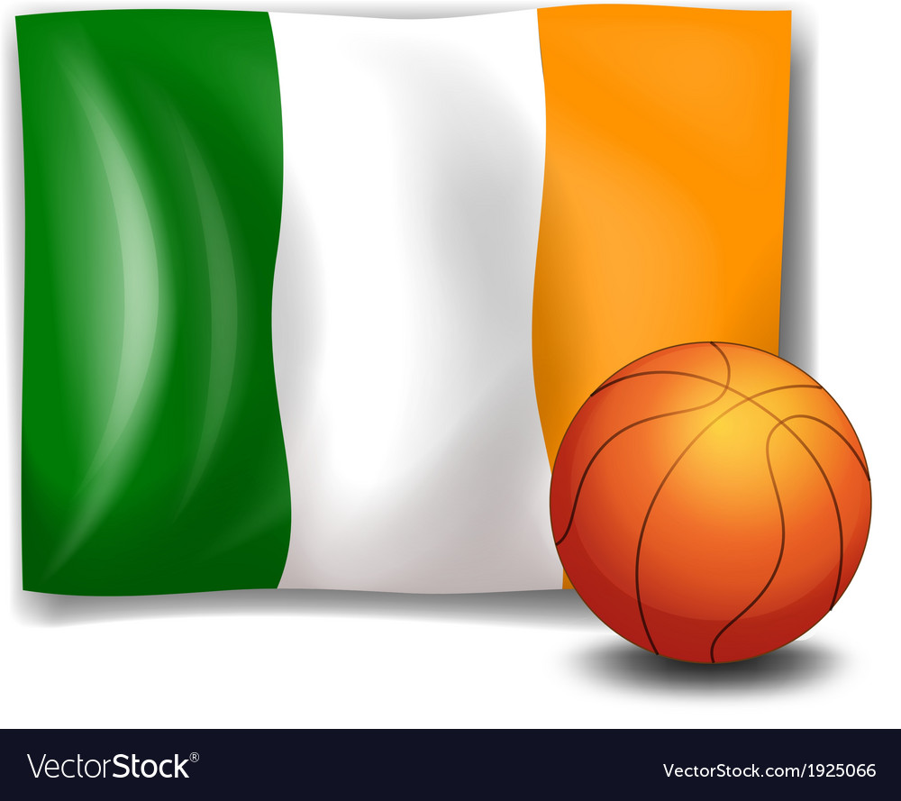 Irelands flag beside the basketball ball vector | Price: 3 Credit (USD $3)
