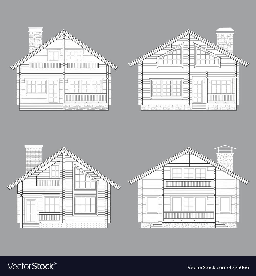 Log house line vector | Price: 1 Credit (USD $1)