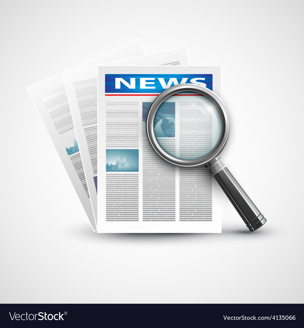 Magnifier and newspaper vector | Price: 1 Credit (USD $1)