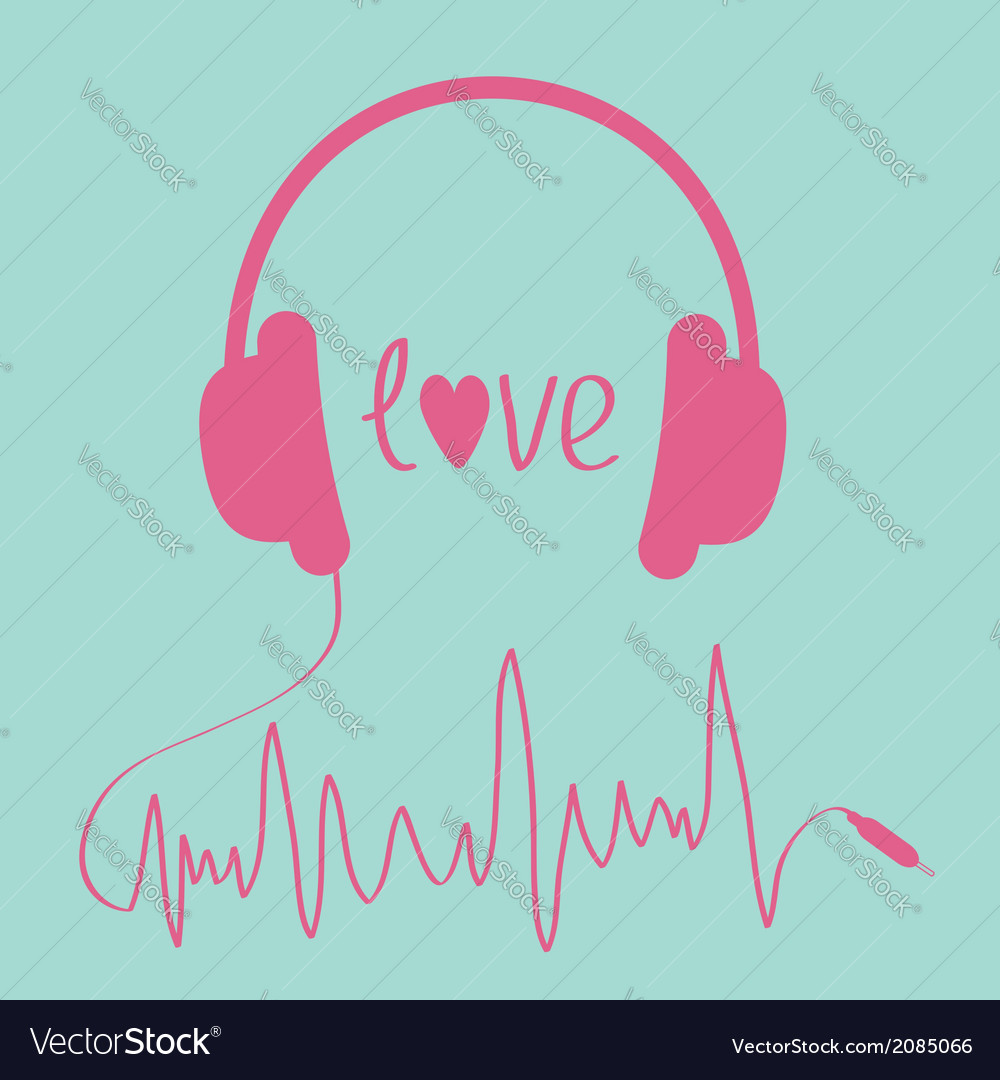Pink headphones with cord in shape of cardiogram vector | Price: 1 Credit (USD $1)