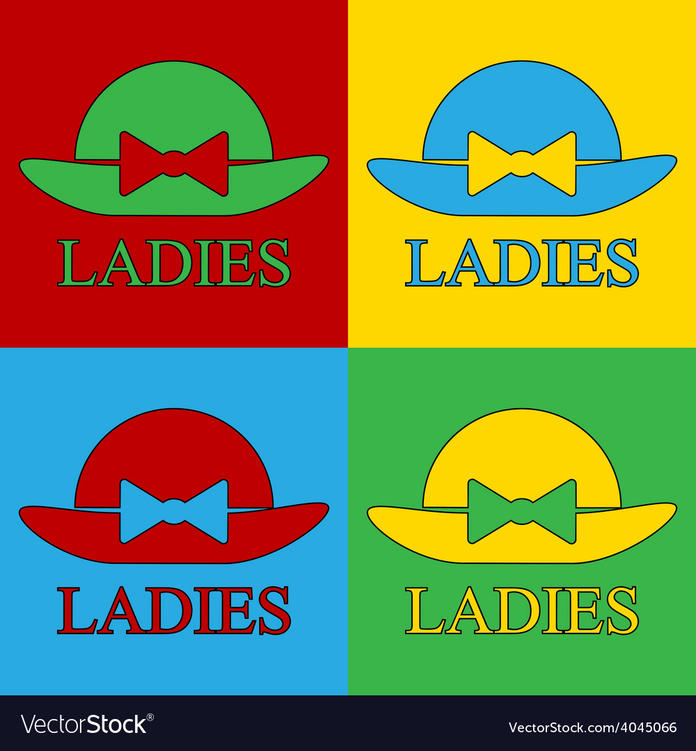 Pop art female hat icons vector | Price: 1 Credit (USD $1)