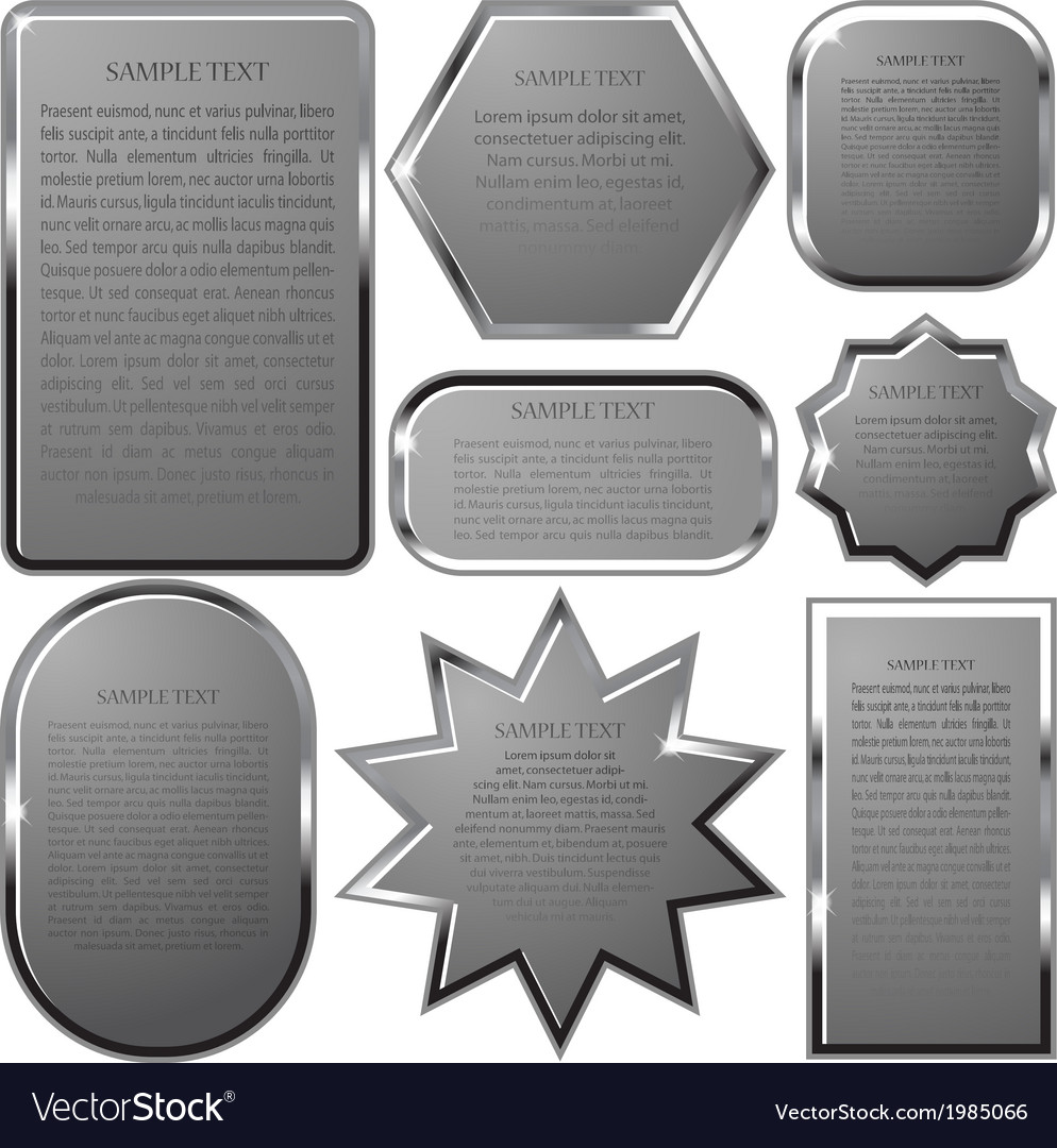Silver label frame eps 10 vector | Price: 1 Credit (USD $1)