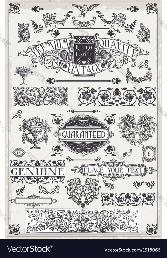 Vintage hand drawn graphic page banners vector | Price: 1 Credit (USD $1)