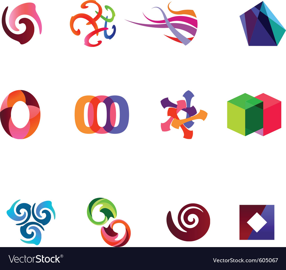 12 colorful symbols set 19 vector | Price: 1 Credit (USD $1)