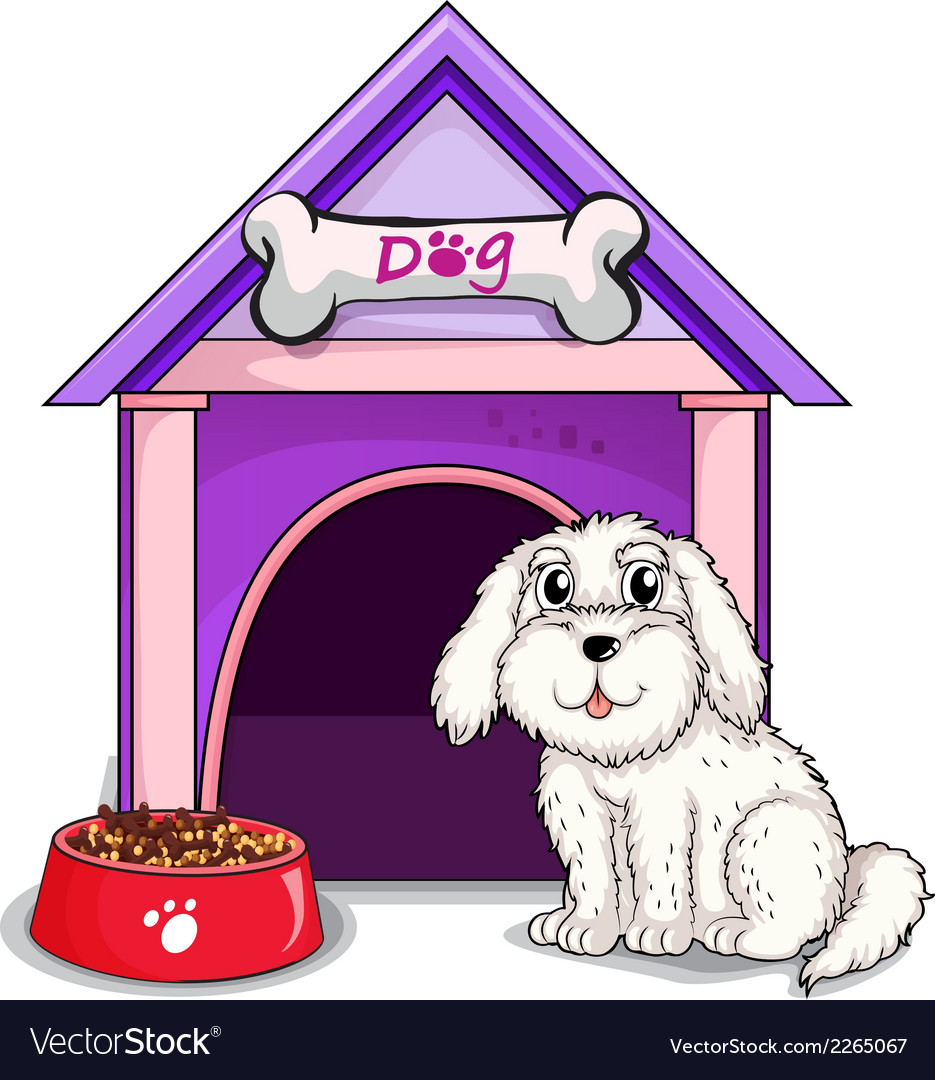 A dog outsite the purple house vector | Price: 1 Credit (USD $1)