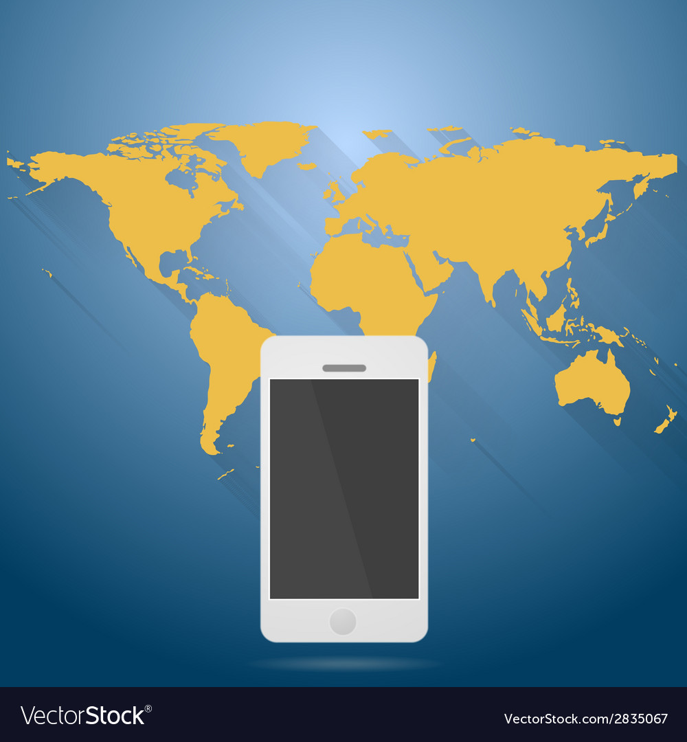 Abstract flat world map with mobile phone vector | Price: 1 Credit (USD $1)