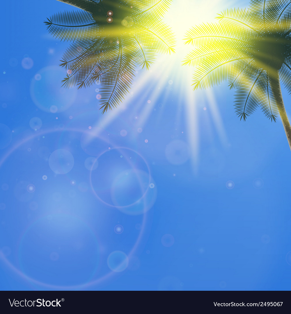 Blue sky with summer sun burst background vector   Price: 1 Credit (USD $1)